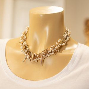 Silver Gold Chain Spike Pearl Short Necklace